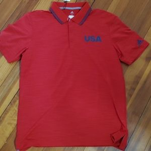 Adidas USA Red Golf Polo Shirt Size MD NEW